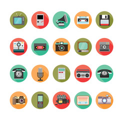Retro style media icons set. Illustration eps10