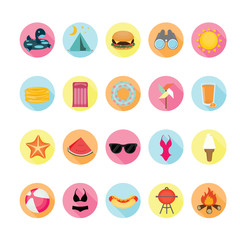 Summer icons set. Illustration eps10