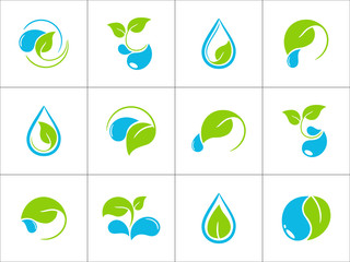 Icons with green leaves and water drops for ecological design