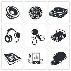 Nightclub vector icon collection