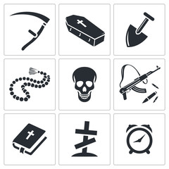 Death and burial icon collection