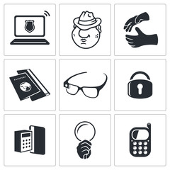 Spying vector icon set