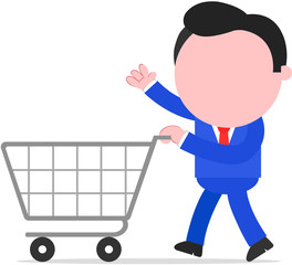 Businessman Pushing Shopping Cart
