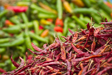 Dry chili pepper in market place in Nepal