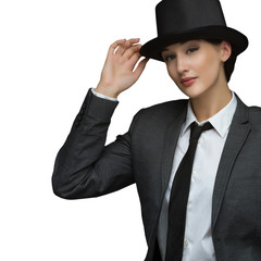 Young business woman wearing top hat isolated on a white backgro