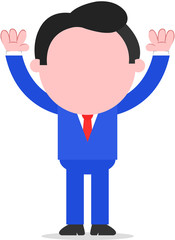 Businessman Raising Hands