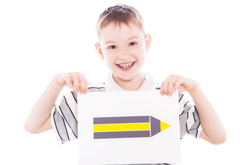 Happy boy with pencil sign