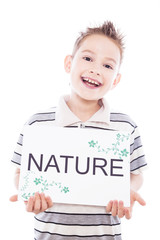 Happy boy with nature sign