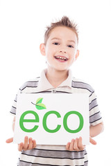 Happy boy with eco sign