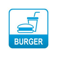Etiqueta tipo app azul BURGER