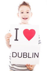Boy with Dublin city sign