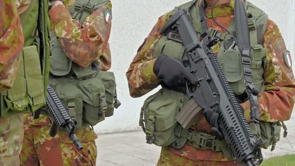 soldiers close-up, training