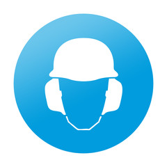 Etiqueta redonda proteccion para oidos y cabeza