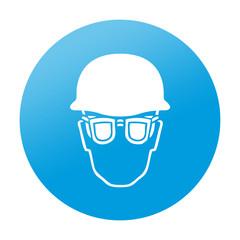Etiqueta redonda proteccion para ojos y cabeza