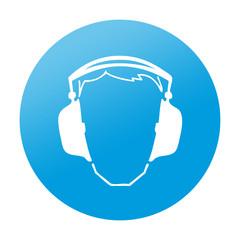Etiqueta redonda proteccion para oidos