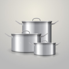 Illustration of three aluminum saucepans