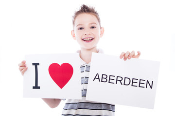 Boy with city sign Aberdeen