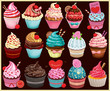 Vintage Cupcake poster set design - 67865878