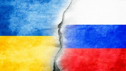 Flaggen Ukraine - Russland
