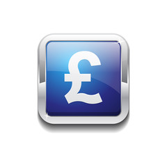 Pound Currency Sign Square Vector Blue Web Icon Button