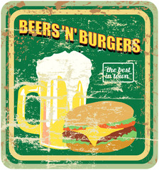 retro diner sign, burgers and beer, vector illustration