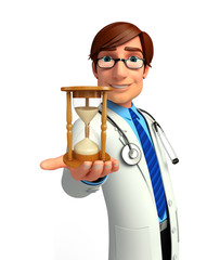 Young Doctor with sand clock