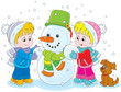 Little girl and boy making a funny snowman