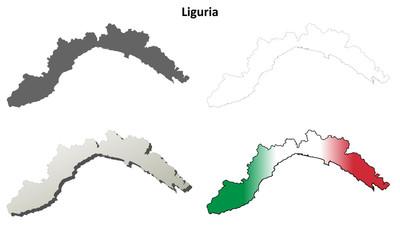Liguria blank detailed outline map set