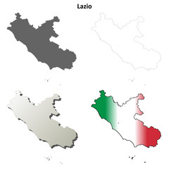Lazio blank detailed outline map set