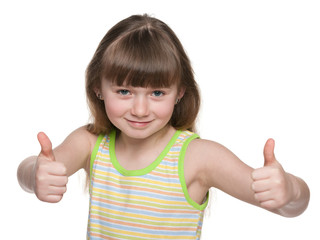Joyful young girl holds her thumbs up