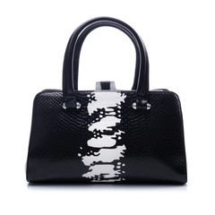 Black and white handbag on white background