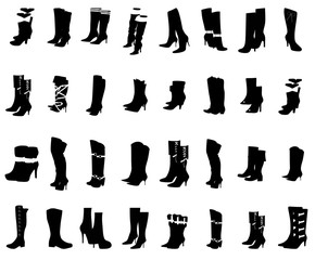 Collection Of Women Boots and Shoe Silhouettes