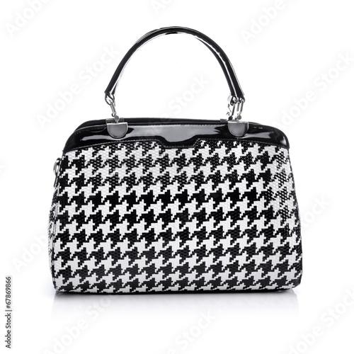 Black and white handbag on white background - 67869866