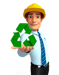 Young Service Man with recycle icon