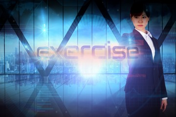 Businesswoman presenting the word exercise