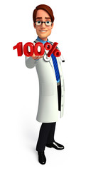 Young Doctor with 100 percentage sign