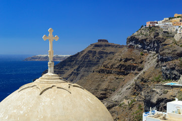 Cupola of St. John The Baptist's church in Fira, Santorini, and