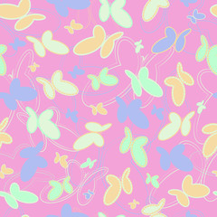 pattern of butterflies on a pink background