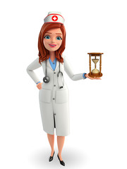 Nurse Character with  sand clock