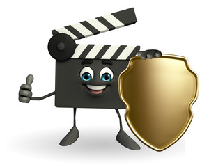 Clapper Board Character with shield