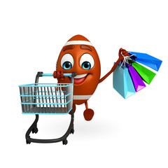 Rubgy ball character with shopping trolley