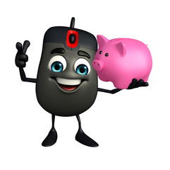 Computer Mouse Character with piggy bank
