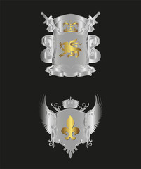 Metal shield vector set