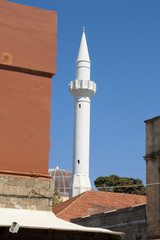 Old minaret of Turkish mosque in Rhodes, Greece