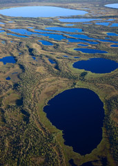 Aerial view of the some lakes on marshy terrain in the evening