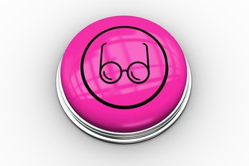 Spectacles graphic on pink button