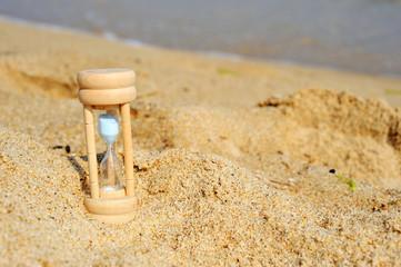砂浜と砂時計