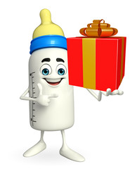 Baby Bottle character with gift box