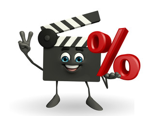 Clapper Board Character with percent sign