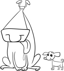big and small dogs coloring page